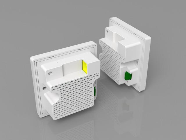 采用标准86mm面板尺寸,可以方便的安装到房间内的接线盒上,不破坏室内